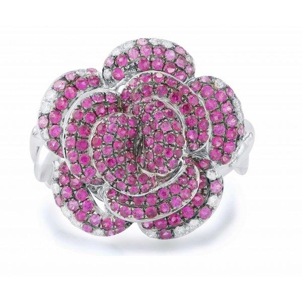 Wli Pink Sapphire Ruby Diamond Ring