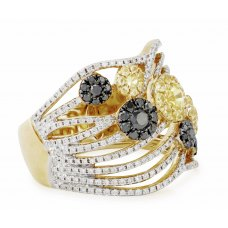 Derna Yellow Sapphire Black Diamond Ring