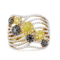 Derna Yellow Sapphire Black Diamond Ring
