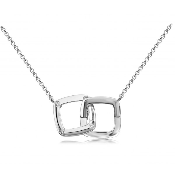Becco Prong Diamond Necklace 18K White Gold