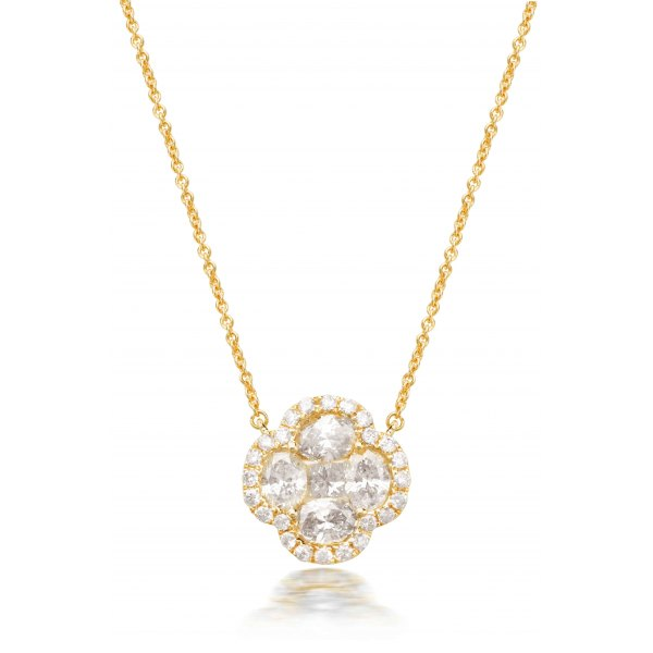 Byer Prong Diamond Necklace 18K Yellow Gold