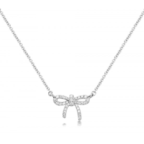 Candina Prong Diamond Necklace 18K White Gold