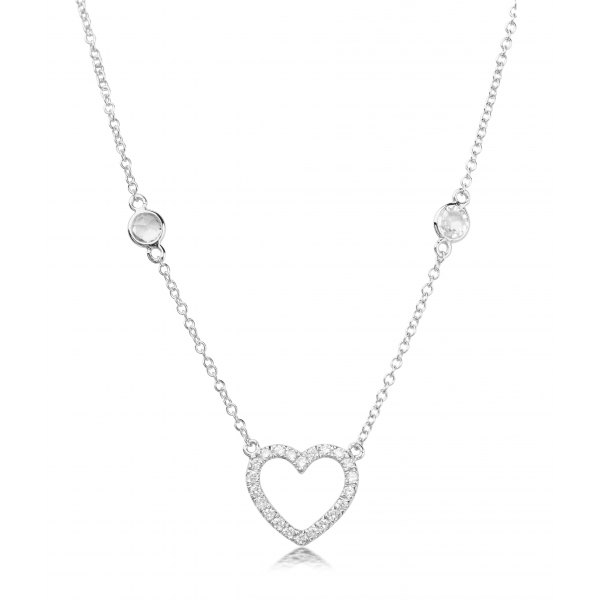 Cima Prong Diamond Necklace 18K White Gold