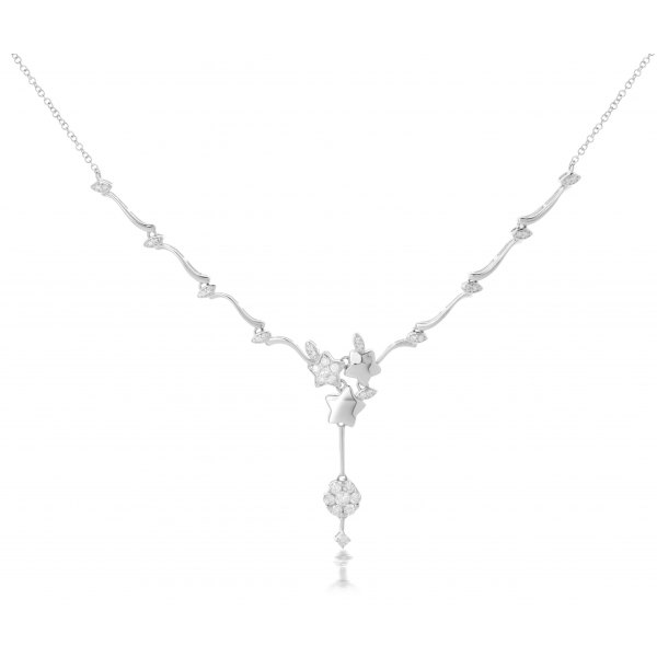 Cirque Prong Diamond Necklace 18K White Gold