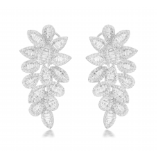 Betaab Channel Diamond Earring 18K White Gold