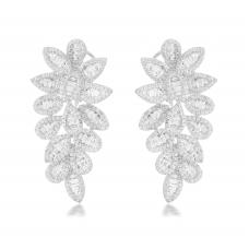 Betaab Channel Diamond Earring 18K White Gold