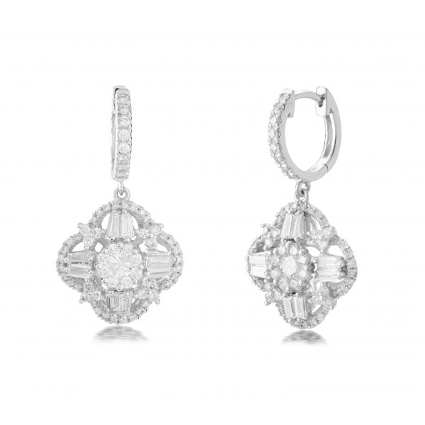 Huon Cluster Diamond Earring 18K White Gold