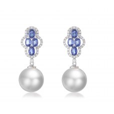 Grose Sapphire Pearl Diamond Earring 18K White Gold