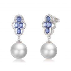 Grose Sapphire Pearl Diamond Earring 18K White Gold