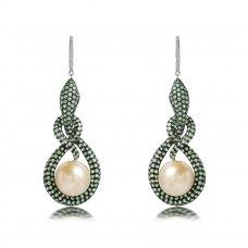 Styx Green Garnet Pearl Diamond Earring 18K White Gold