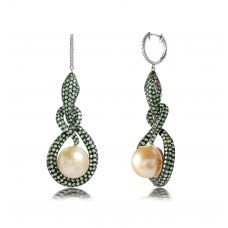Styx Green Garnet Pearl Diamond Earring 18K White Gold