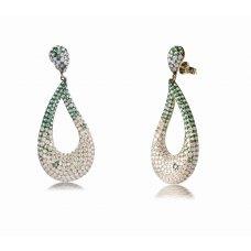 Weld Green Garnet Diamond Earring 18K Yellow Gold