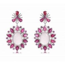 Hula Quartz Ruby Diamond Earring 18K White Gold