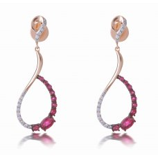 Fergana Ruby Diamond Earring 18K Rose Gold