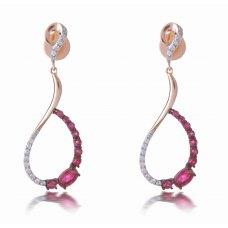 Fergana Ruby Diamond Earring 18K Rose Gold