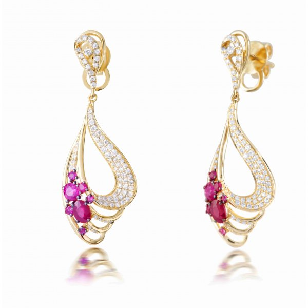 Vale Ruby Diamond Earring 18K Yellow Gold