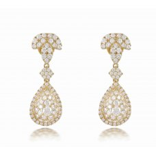 Hunza Cluster Diamond Earring 18K Yellow Gold