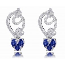 Lug Blue Sapphire Diamond Earring 18K White Gold