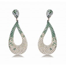 Weld Green Garnet Diamond Earring 18K Yellow Gold