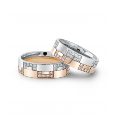 Lamar Diamond Wedding Ring 18K White and Rose Gold(Pair)