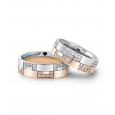 Lamar Diamond Wedding Ring 18K White and Rose Gold(Pair)