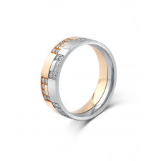 Lamar Men's Wedding Ring 18K White and Rose Gold