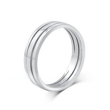 Geoffrey Simplicity Men's Wedding Ring 18K White Gold