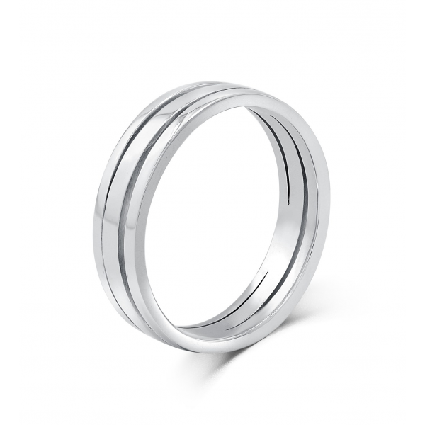 Geoffrey Simplicity Women's  Wedding Ring 18K White Gold