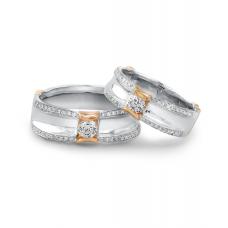 Hetty Diamond Wedding Ring 18K White and Rose Gold(Pair)