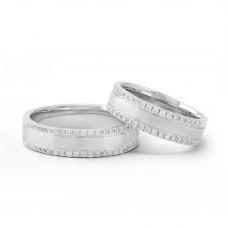 Senet Diamond Wedding Ring 18 White Gold(Pair)