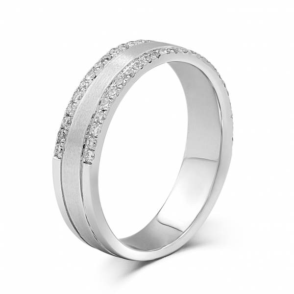 Senet Comfort Fit Micro Men S Wedding Ring 18 White Gold