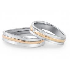 Marvelle Diamond Wedding Ring 18K White and Rose Gold(Pair)