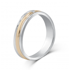 Marvelle Men's Wedding Ring 18K White and Rose Gold
