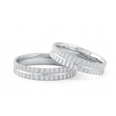 Luinston Lucid Grand Wedding Ring in 18K White Gold(Pair)