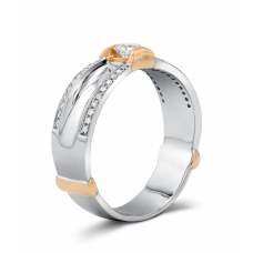 Hetty Men's Wedding Ring 18K White and Rose Gold