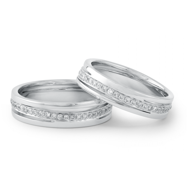 Fondness Micro Diamond Wedding Ring 18K White Gold(pair)