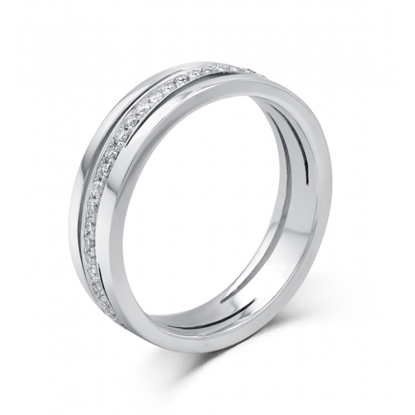 Fondness Men's Diamond Wedding Ring 18K White Gold