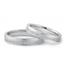 Miquel Diamond Wedding Ring 18K White Gold(Pair)