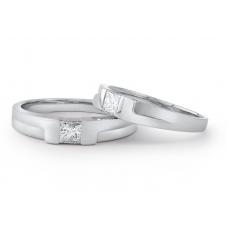 Jolee Diamond Wedding Ring 18K White Gold(Pair)