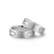 Roch Prong Diamond Wedding Ring 18k White Gold(Pair)