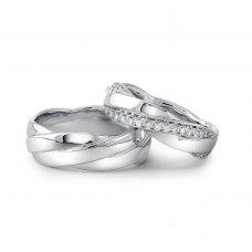 Koty Micro pave Diamond Wedding Ring 18K White Gold(Pair)