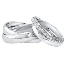 Jay'ne Micro Diamond Wedding Ring 18K White Gold(Pair)