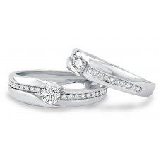 Parfait Channel Diamond Wedding Ring 18k White Gold(Pair)