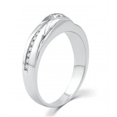 Parfait Channel Women's Wedding Ring 18k White Gold