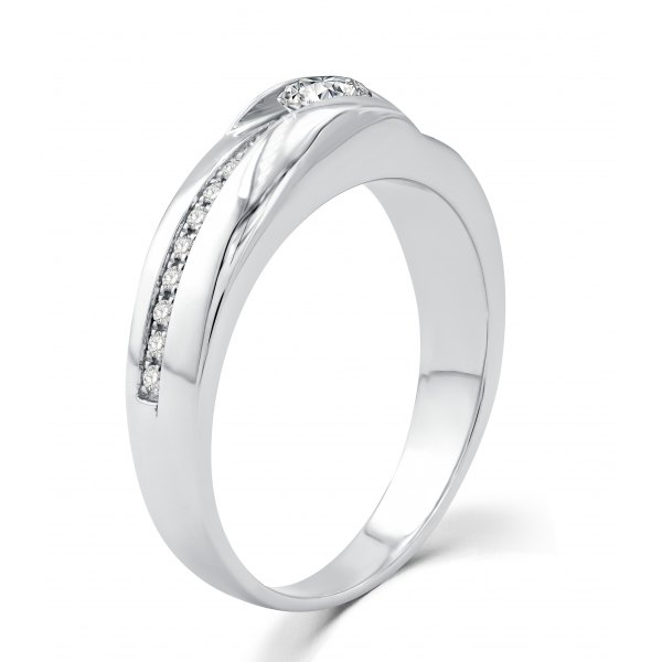 Parfait Channel Men's Wedding Ring 18k White Gold