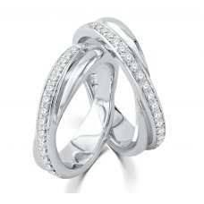 Nell Micro Diamond Wedding Ring 18K White Gold(Pair)