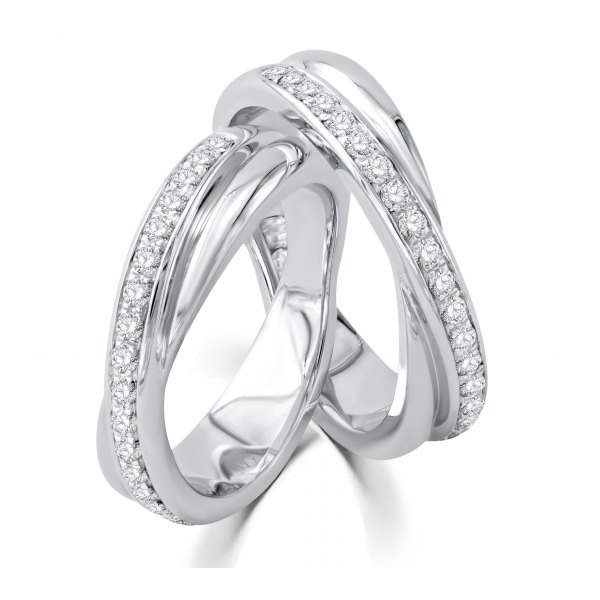 Nell Micro Diamond Wedding Ring 18K White Gold(Pair)