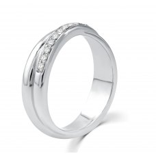 Nell Micro Men's Diamond Wedding Ring 18K White Gold