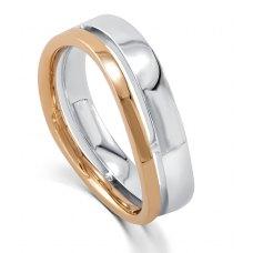 Odile Diamond Wedding Ring 18k White and Rose Gold(Pair)