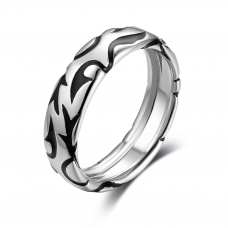Mica Men Wedding Ring 18K White and Black Gold